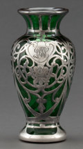 Art Glass:Other , AN AMERICAN SILVER OVERLAY VASE . Probably Gorham ManufacturingCo., Providence, Rhode Island, circa 1900. Marks: STERLIN...