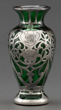 AN AMERICAN SILVER OVERLAY VASE Probably Gorham Manufacturing Co., Providence, Rhode Island, circa 1900 Marks: