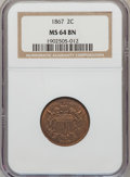 Two Cent Pieces: , 1867 2C MS64 Brown NGC. NGC Census: (104/53). PCGS Population(28/4). Mintage: 2,938,750. Numismedia Wsl. Price for problem...