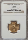1994-W G$5 World Cup Gold Five Dollar MS70 NGC. NGC Census: (474). PCGS Population (74). Mintage: 22,464. Numismedia Wsl...