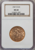 Liberty Eagles: , 1907-S $10 MS60 NGC. PCGS Population (13/97). Mintage: 210,500.Numismedia Wsl. Price for problem free N...