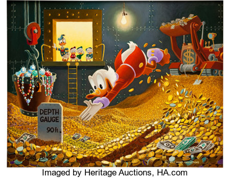 Carl Barks The Sport of Tycoons Painting Original Art (1974)....