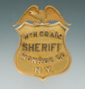 Antiques, Fine 14K Gold Eagle & Shield Badge for Wm. H. Craig, Sheriff of Monroe County, New York by Oemisch....