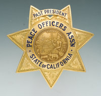 Fine Engraved and Enameled Gold Seven-Pointed Star Presentation Badge for Chief of Police, Bodie A. Wallman, Past Presid...