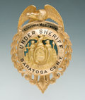 Antiques, Fine Enameled 14K Gold Eagle & Shield Pattern Badge of ClarenceMcElwain, Under Sheriff for Saratoga County, New York....