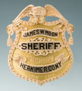 Antiques, Fine Jeweler-Made Gold Eagle and Shield Badge for James W. Moon,Sheriff, Herkimer, Co., New York, 1910-1912....