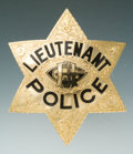 Antiques, Fine Gold Six-Pointed Presentation Lieutenant's Police Badge Belonging to James A. Goodnight....