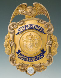 Fine Gold and Enameled Eagle and Shield Presentation Badge for Joseph W. Buckley, Undersheriff of Hudson Co., N.J. by Di...