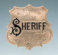 Antiques, Fine Engraved Antique Gold and Enameled Jeweler-Made Shield Pattern Badge of John C. Day Sheriff, Springfield, Missouri, Circa...