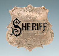 Fine Engraved Antique Gold and Enameled Jeweler-Made Shield Pattern Badge of John C. Day Sheriff, Springfield, Missouri...