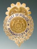 Antiques, Solid Gold Jeweler-Made Eagle and Shield Badge of Bernard Brannon, Chief of Police for Kansas City, Mo....