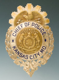 Solid Gold Jeweler-Made Eagle and Shield Badge of Bernard Brannon, Chief of Police for Kansas City, Mo