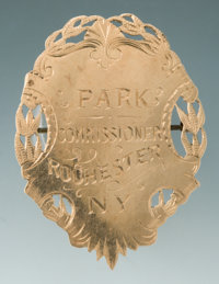 Fine Jeweler Engraved Gold Planchet Badge for Park Commissioner, Rochester, N.Y. Thomas A. Whittle