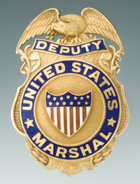 Fine Gold and Enameled Irvine & Jachens Presentation Deputy United States Marshal Eagle and Shield Badge to George W...