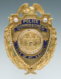 Unique Gold, Enameled and Diamond-Mounted Eagle & Shield Presentation Badge to A.M. Anderson, Deputy Police Commissi...