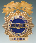 Antiques, Rare and Fine Tiffany-Made Gold Presentation Badge for United States Marshal of the Supreme Court J.M. Wright....