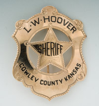 Gold and Enameled Shield Badge of L.W. Hoover, Sheriff of Cowley County, Kansas