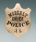 Antiques, Fine 19th-Century Engraved and Enameled Gold Presentation Shield Pattern Badge to J.E.Lynch, Chief of Police, Moberly, Missour...