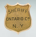 Antiques, Fine Gold and Enameled Shield Pattern Badge of George L.VanVoorhis, Sheriff of Ontario County, New York by BastianBrothers....