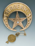 Antiques, Unique Jeweler-Made Gold and Diamond-Mounted Crescent and Star Pattern Presentation Badge to George A. Roussell, Police Se...
