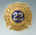 Antiques, Fine 14-Karat Gold Badge of San Diego Fire Department Veteran W.P.McGuire, with 22 Years Service, Marked in Gold and Hard-Fir...