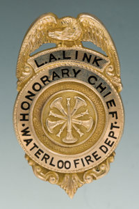 Solid Gold and Enameled Eagle & Shield Badge for L.A. Link, Honorary Chief, Waterloo Fire Department