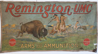 Original Polychrome Remington UMC Cloth Advertising Banner