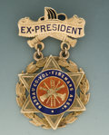 Antiques, Small 14K Gold and Cloisonné Suspension Badge for the Ex-Presidentof the Nassau County Volunteer Fireman's Association....