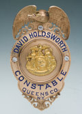 Antiques, Fine Gold and Enameled Eagle & Shield Presentation Badge ofDavid Holdsworth, Constable, Queens County, New York....