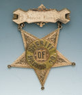 Antiques, Handsome Jeweler-Made, Engraved Gold and Multi-Layered Presentation Star Suspension Badge of Isaac King, Sheriff of Marion Cou...