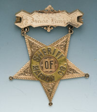 Handsome Jeweler-Made, Engraved Gold and Multi-Layered Presentation Star Suspension Badge of Isaac King, Sheriff of Mari...