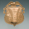 Antiques, Unique and Finely Engraved Antique Gold Eagle & Shield PatternBadge for Fred O. Vichmann, Deputy Sheriff of Monroe County, Ne...