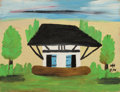 Paintings, CLEMENTINE HUNTER (American, 1886-1988). Africa House, 1970. Oil on board . 12 x 16 inches (30.5 x 40.6 cm). Initialed a...