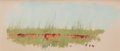 Texas:Early Texas Art - Regionalists, FRANK REAUGH (American, 1860-1945). Unfinished Landscape,1924. Pastel on grit paper . 3 x 7 inches (7.6 x 17.8 cm). Ini...