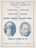 Autographs:Others, 1939 Babe Ruth Signed Testimonial Dinner Program....