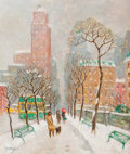Fine Art - Painting, American:Modern  (1900 1949)  , PROPERTY FROM A PRIVATE COLLECTION, SAN DIEGO. GUY CARLETON WIGGINS(American, 1883-1962). A Walk Along the Park, 1960...