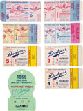 Baseball Collectibles:Tickets, 1955 World Series Tickets Stubs Full Run of Seven & PressPass....