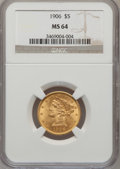 Liberty Half Eagles: , 1906 $5 MS64 NGC. NGC Census: (190/76). PCGS Population (181/92).Mintage: 348,700. Numismedia Wsl. Price for problem free ...