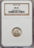 Barber Dimes: , 1909-S 10C MS65 NGC. NGC Census: (9/3). PCGS Population (5/9).Mintage: 1,000,000. Numismedia Wsl. Price for problem free N...