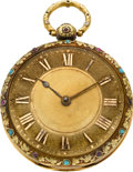 Timepieces:Pocket (pre 1900) , D & W. Morice London Multicolor Gold Cylinder Fusee With Rubies& Turquoise, circa 1820. ...