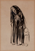 Fine Art - Work on Paper:Drawing, FROM THE ESTATE OF DR. EDMUND P. PILLSBURY. JEAN LOUIS FORAIN(French, 1852-1931). Nun with a Child. Ink and brush on ...
