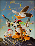 Original Comic Art:Paintings, Carl Barks Donald Duck Sheriff of Bullet Valley Oil Painting Original Art (1973)....