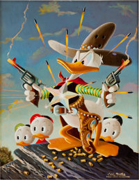 Carl Barks Donald Duck Sheriff of Bullet Valley Oil Painting Original Art (1973)