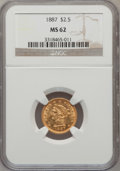 Liberty Quarter Eagles, 1887 $2 1/2 MS62 NGC....