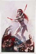 Original Comic Art:Covers, Lucio Parrillo Red Sonja Revenge of the Gods #1A PaintedCover Original Art (Dynamite, 2011)....
