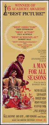 "A Man For All Seasons (Columbia, 1966). Insert (14"" X 36"") Academy Awards Style. Academy Award Winners"