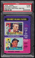 Baseball Cards:Autographs, 1975 Topps Roger Maris and Dick Groat Multi Signed Card, PSA EX 5....