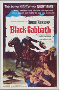 "Movie Posters:Horror, Black Sabbath (American International, 1964). One Sheet (27"" X41""). Horror.. ..."