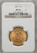 Liberty Eagles: , 1899 $10 MS65 NGC. NGC Census: (188/30). PCGS Population (28/6).Mintage: 1,262,305. Numismedia Wsl. Price for problem free...