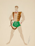 Fine Art - Work on Paper:Drawing, ERTÉ (ROMAIN DE TIRTOFF) (Russian/French, 1892-1990). Adam,costume study. Gouache and tempera on paper . 12-1/2 x 9-1/2...